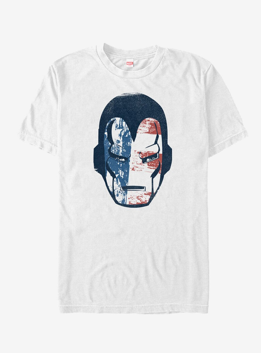 Marvel 4th of July Iron Man American Flag Mask T-Shirt
