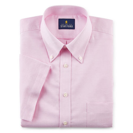 Stafford Mens Short Sleeve Wrinkle Free Oxford Button Down Collar Dress Shirt, 16.5 , Pink