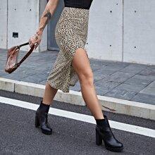 Falda de leopardo de muslo con abertura de cintura elastica