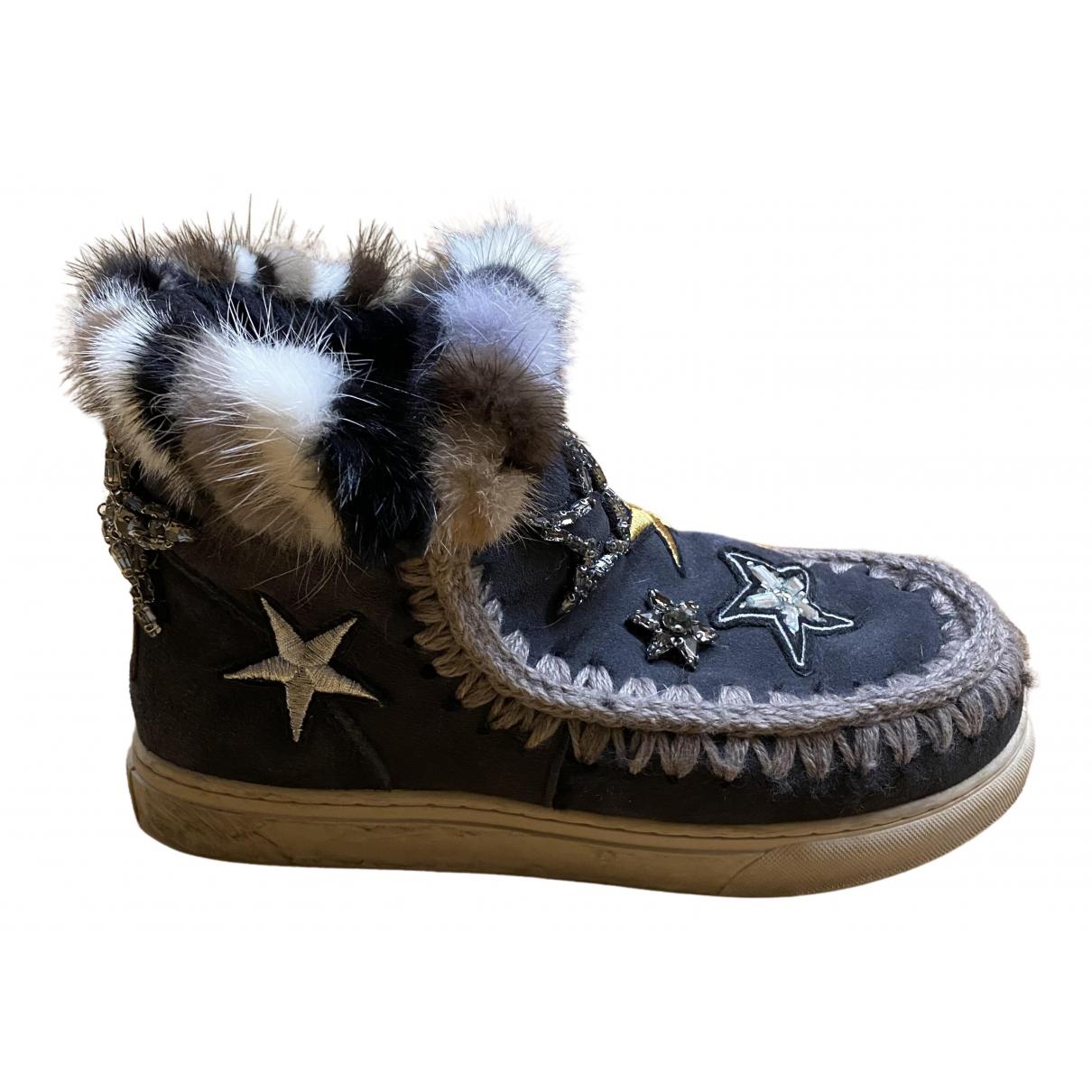 Mou - Boots   pour femme en a paillettes - anthracite