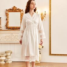 Lace Panel Tie Side Night Robe
