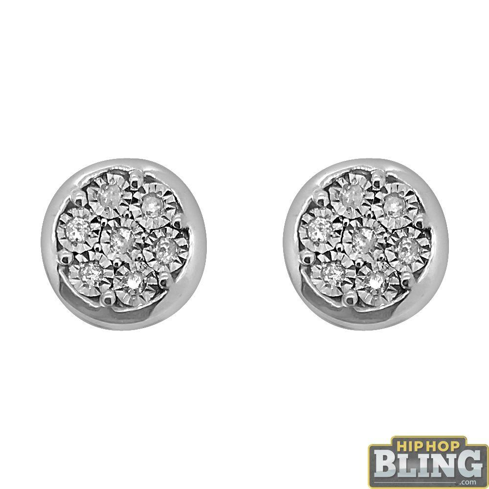 Circle Cluster Genuine Diamond Hip Hop Earrings