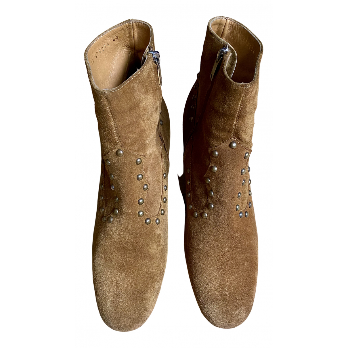 Saint Laurent \N Stiefeletten in  Kamel Veloursleder