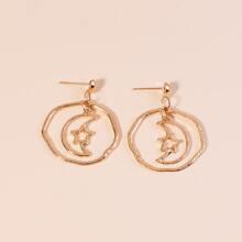 Moon & Star Charm Drop Earrings