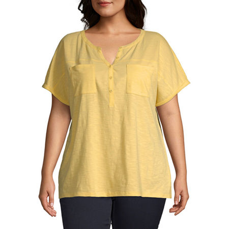 St. John's Bay-Plus Womens Split Crew Neck Short Sleeve Henley Shirt, 0x , Yellow