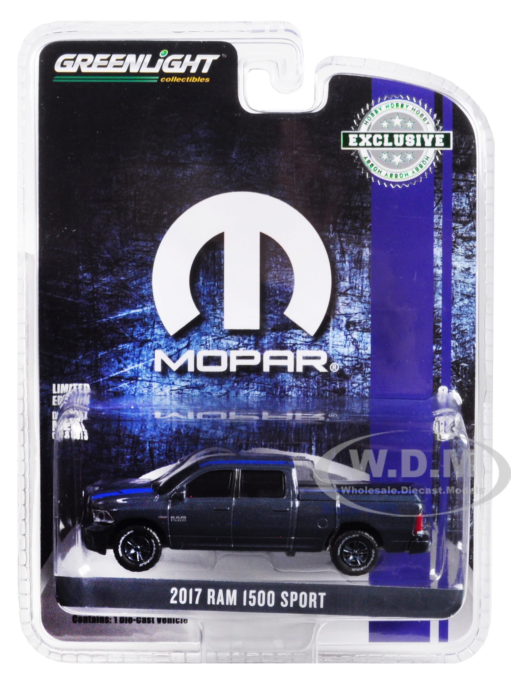 2017 RAM 1500 Sport Pickup Truck with Bed Cover Metallic Dark Blue and Blue Stripe MOPAR Hobby Exclusive 1/64 Diecast Model Car by Greenlight