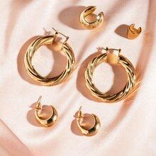 Texturierte runde Ohrringe 3 Paare