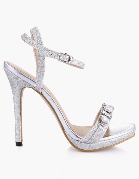 Milanoo High Heel Sandals Womens Sequined Open Toe Slingback Stiletto Heels Sandals with Rhinestones