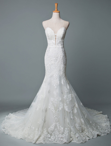 Milanoo Wedding Dresses Mermaid Sleeveless Lace Illusion Neck Customized Lace Floor Length With Train Bridal Gowns