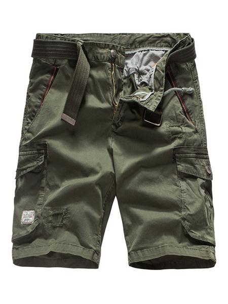 Milanoo Pantalones cortos de carga gris Hombres bolsillos de algodon Pantalones cortos casuales