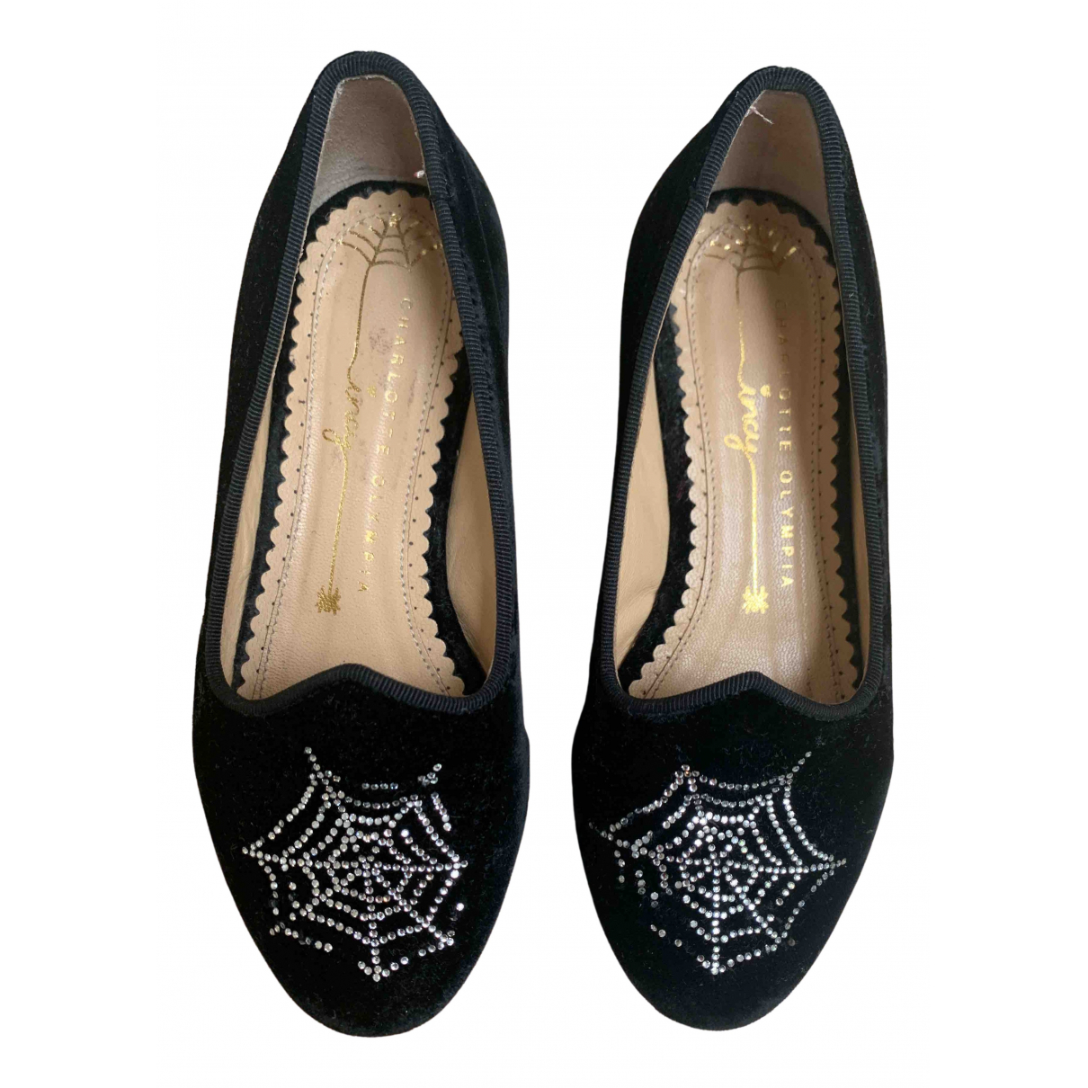 Charlotte Olympia \N Black Velvet Flats for Kids 11 UK