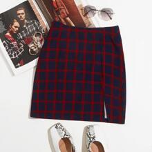 Plaid Split Hem Mini Skirt