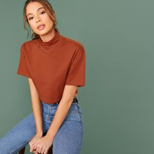 Boxy Funnel Neck Crop Top