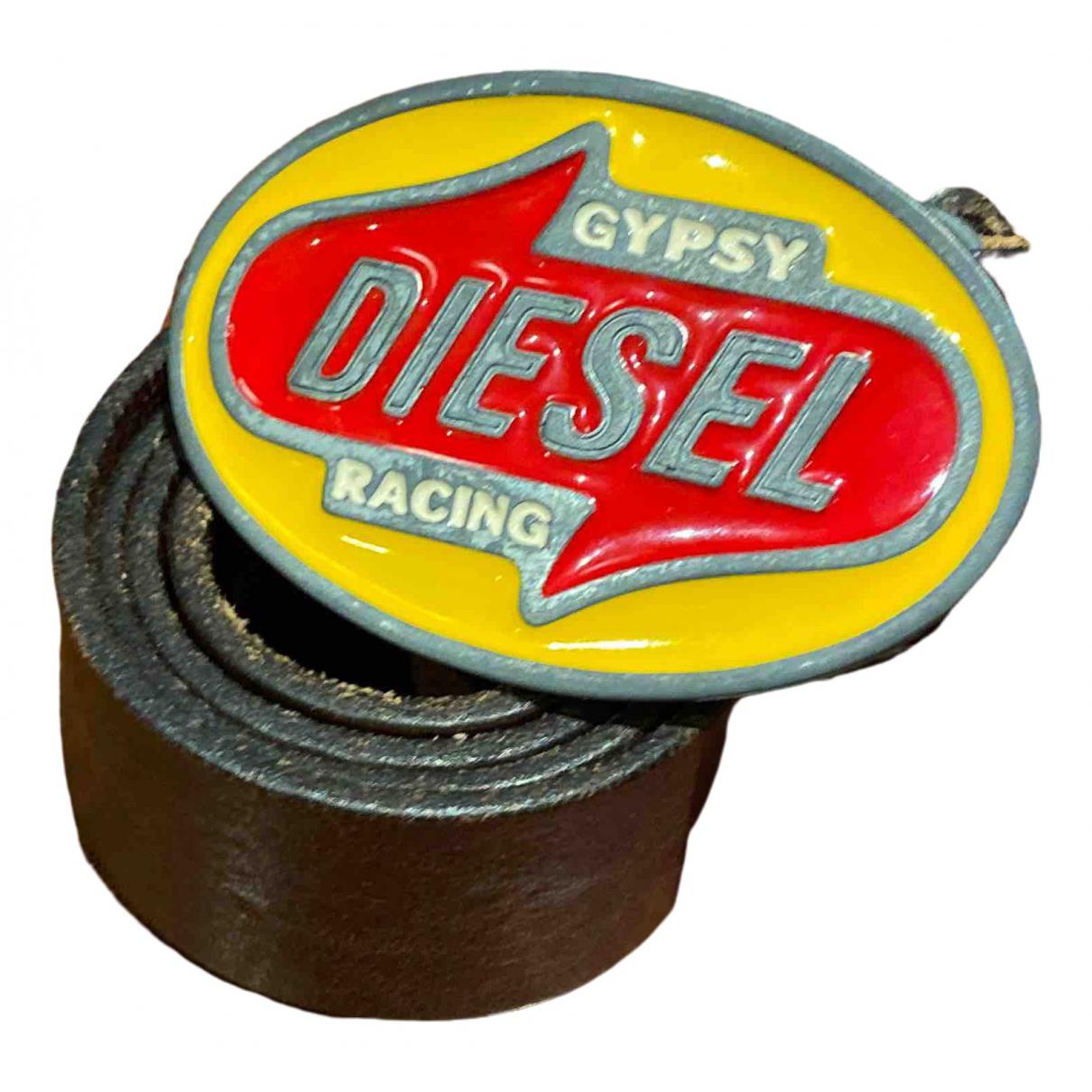 Diesel - Ceinture.Bretelles   pour enfant en cuir - marron