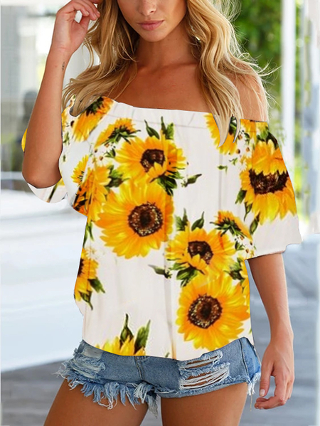 YOINS White Random Sunflower Print Off The Shoulder Blouse