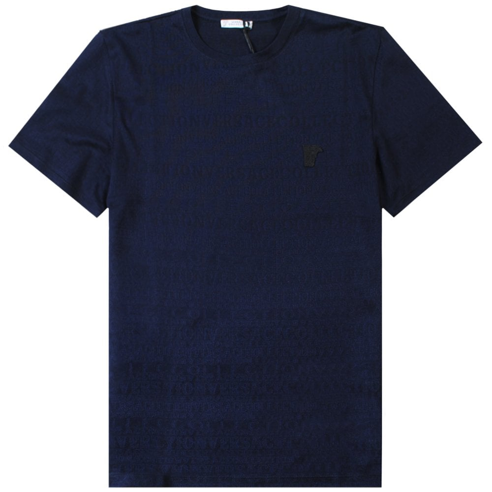 Versace Collection Scattered Logo Print T-Shirt Colour: NAVY, Size: EXTRA EXTRA LARGE