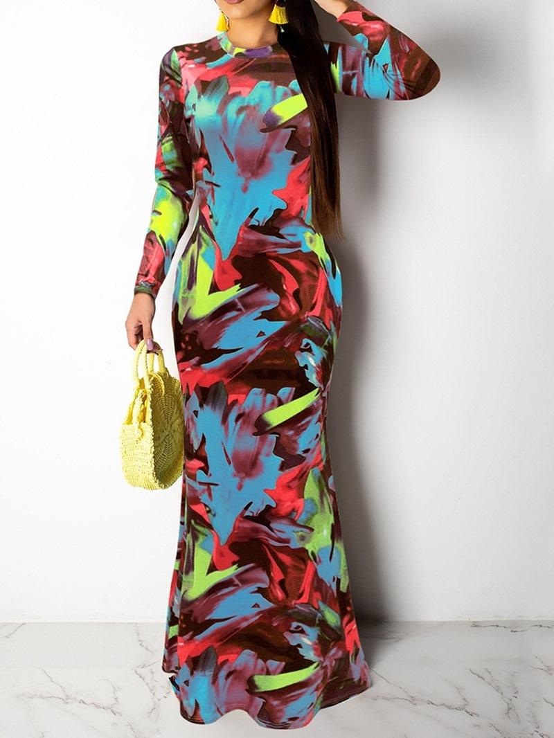 Ericdress Print Long Sleeve Round Neck Fashion Color Block Dress