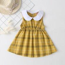 Gelb  Kontrastkragen  Kariert  Preppy Baby Kleider