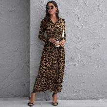 Button Front Self Belted Leopard Shirt Dress