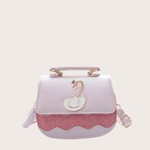 Bolsa sillin de niñas con estampado de cisne con diseño brillante