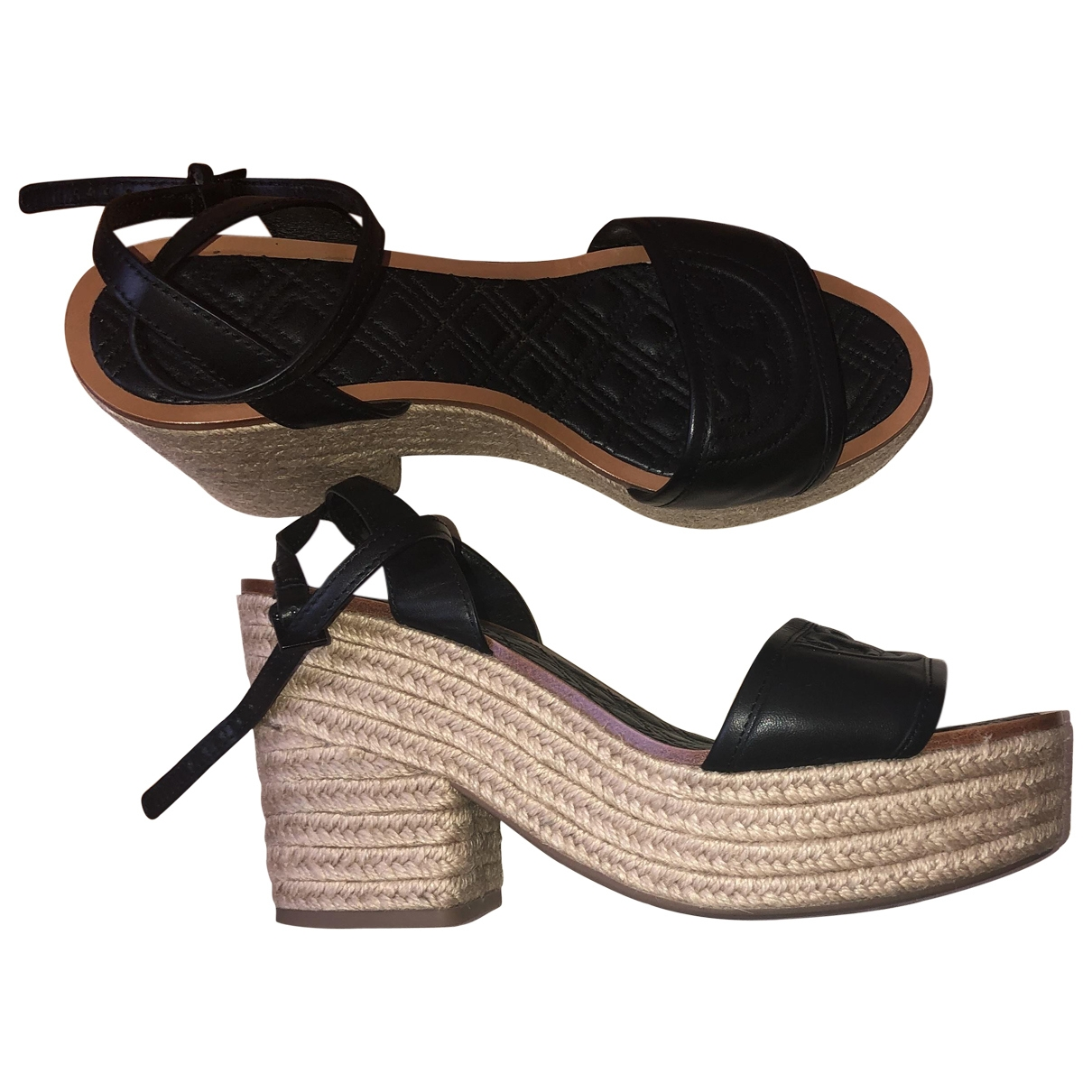 Tory Burch \N Black Leather Sandals for Women 8.5 US