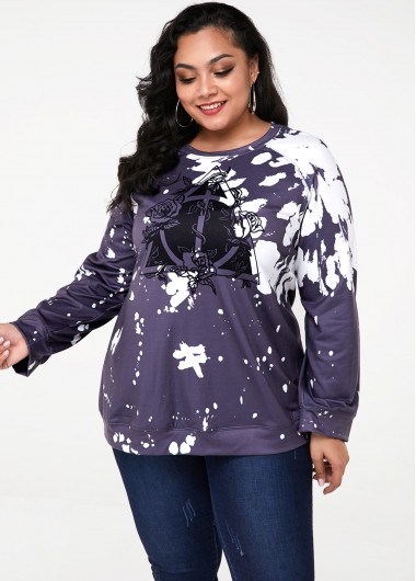 Tie Dye Print Long Sleeve Plus Size Sweatshirt - 3X