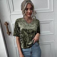 Camiseta de terciopelo escote V con cuenta con perlas