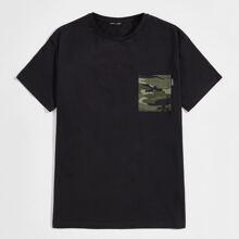 T-Shirt mit Camo Muster und Taschen Flicken
