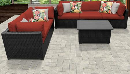 Belle Collection BELLE-06d-TERRACOTTA 6-Piece Patio Set 06d with 4 Corner Chair   1 Armless Chair   1 Coffee Table - Wheat and Terracotta