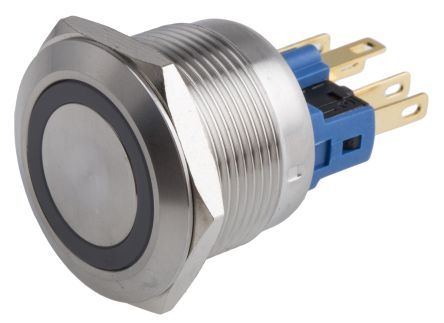 RS PRO Single Pole Double Throw (SPDT) Momentary White LED Push Button Switch, IP65, IP67, 22 (Dia.)mm, Panel Mount,