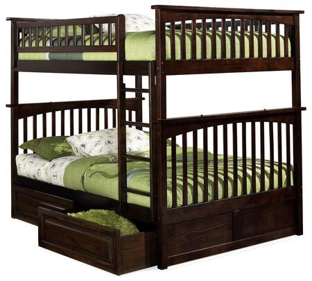 Columbia Collection AB55524 Full Over Full Size Bunk Bed with 2 Raised Panel Bed Drawers  Clip on Ladder  Guard Rails  Built-In Modesty Panel and