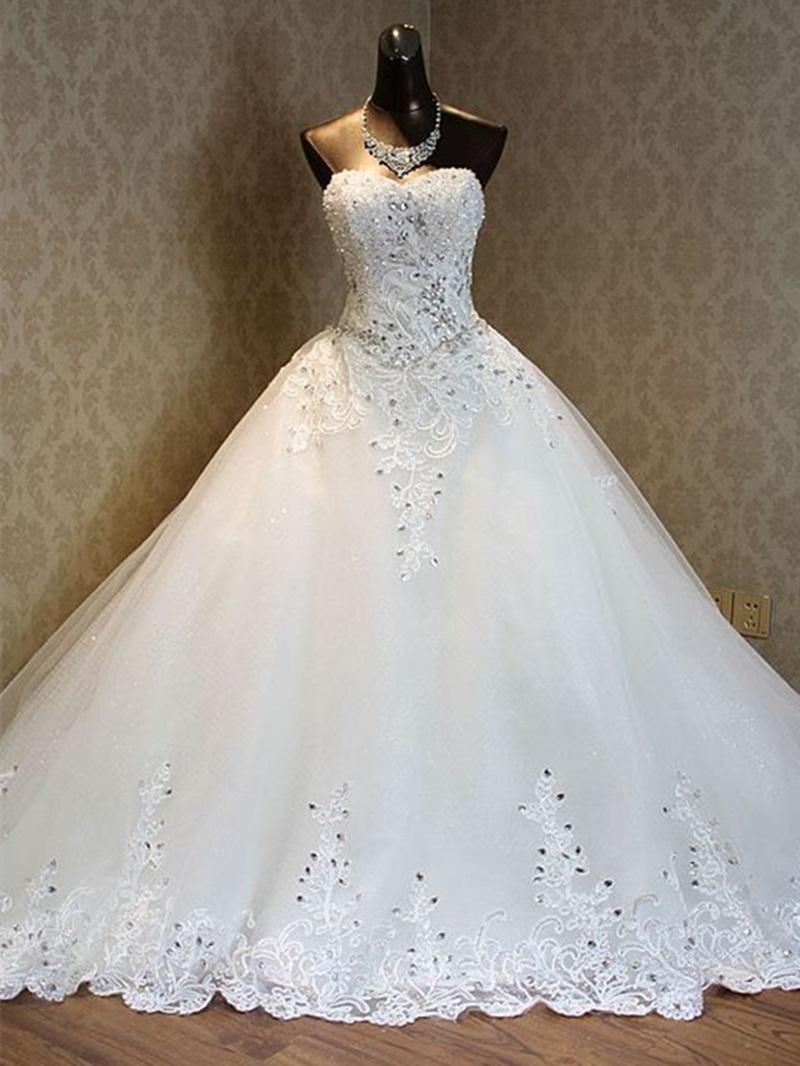 Ericdress Luxury Sweetheart Beading Chapel Train Wedding Dress