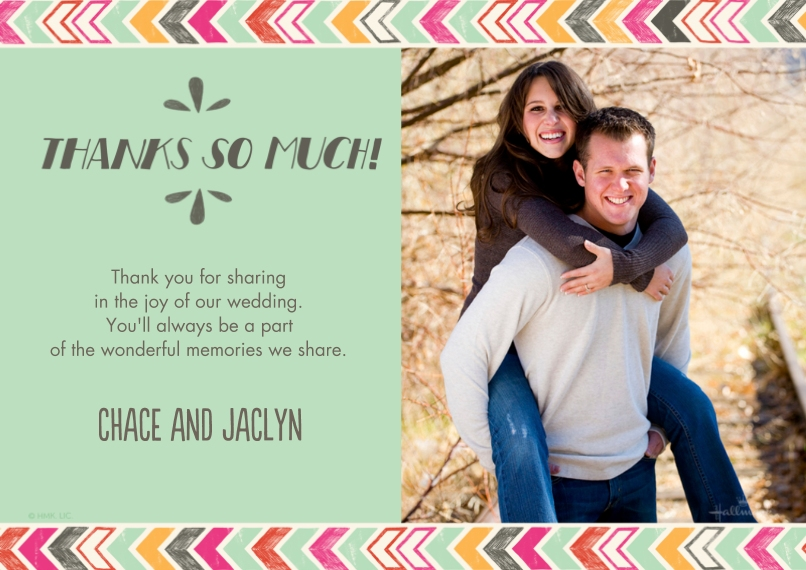 Wedding Thank You Flat Matte Photo Paper Cards with Envelopes, 5x7, Card & Stationery -Colorful Chevron Thank You