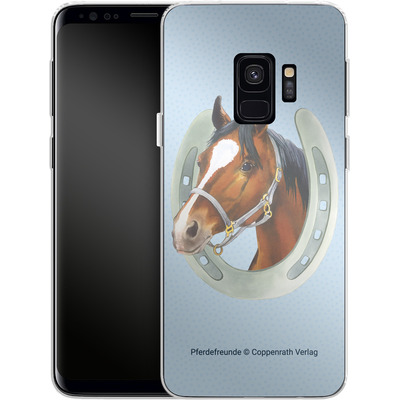 Samsung Galaxy S9 Silikon Handyhuelle - Pferdefreunde Hufeisen Blau von Pferdefreunde
