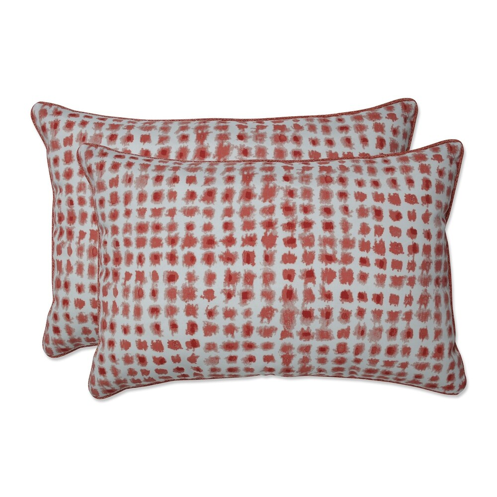 Pillow Perfect Outdoor | Indoor Alauda Coral Isle Oversized Rectangular Throw Pillow (Set of 2) 24.5 X 16.5 X 5 (Red)