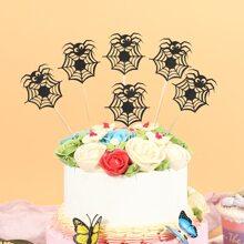 6 Stuecke Tortenaufsatz mit Halloween Spinne Design