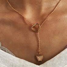 Halskette mit Schmetterling & Herzen Dekor