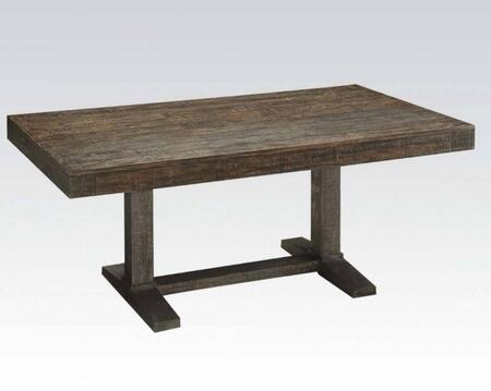 Eliana Collection 71710 72 Dining Table with Trestle Base  Distressed Look  Pine Wood and Veneer Materials in Salvage Brown