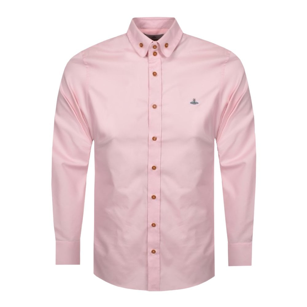 Vivienne Westwood Double Button Orb Logo Shirt Colour: PINK, Size: EXTRA EXTRA LARGE