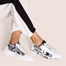 Letter Graphic Lace Up Sneakers