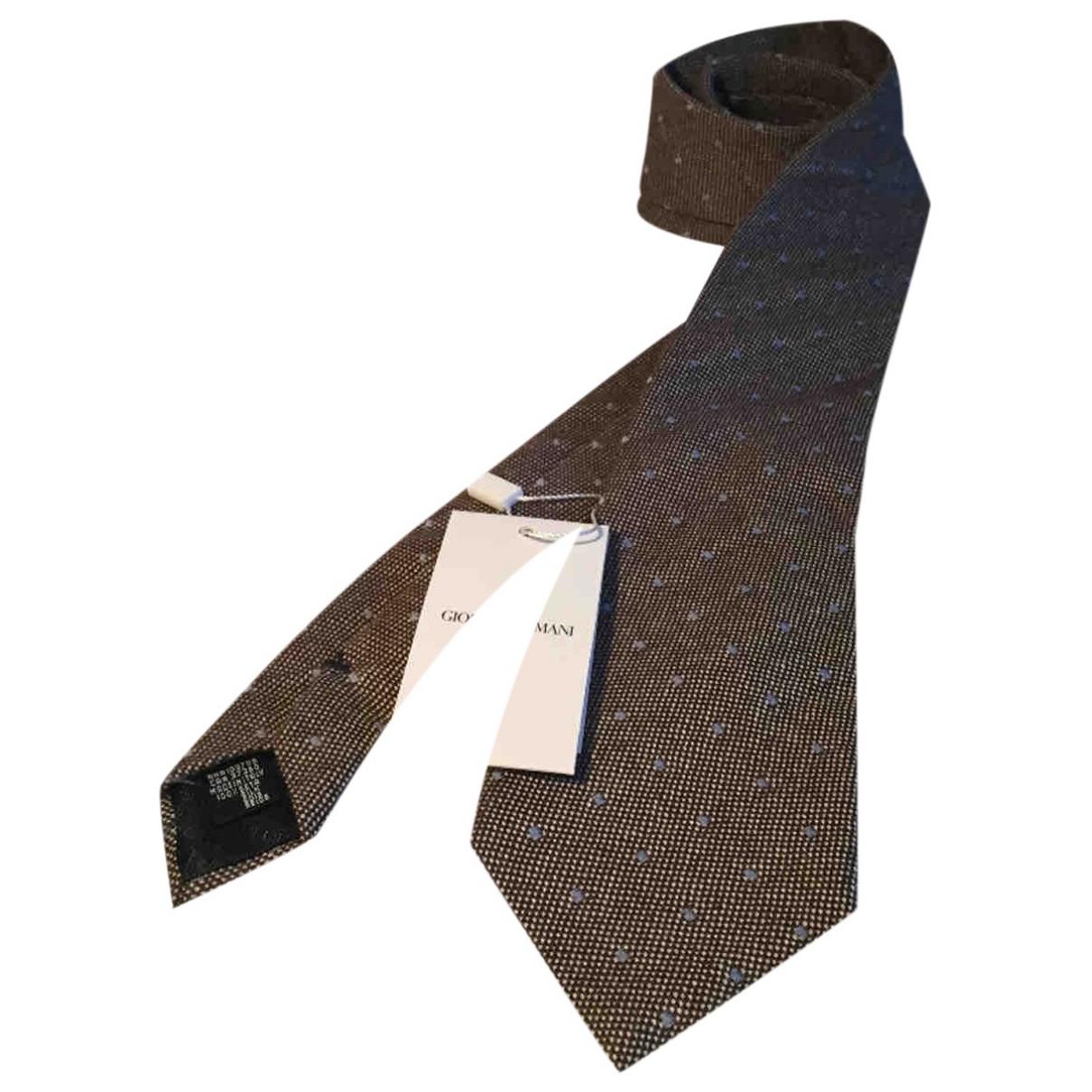 Armani Collezioni - Cravates   pour homme en soie - marron