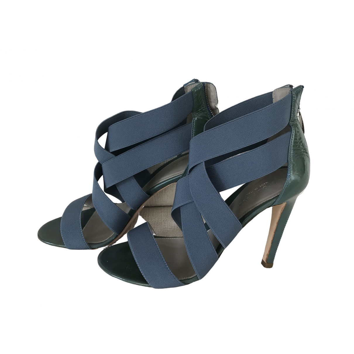 Sergio Rossi \N Blue Patent leather Sandals for Women 37.5 EU