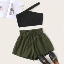 Plus One Shoulder Rib-knit Top & Paperbag Waist Shorts Set