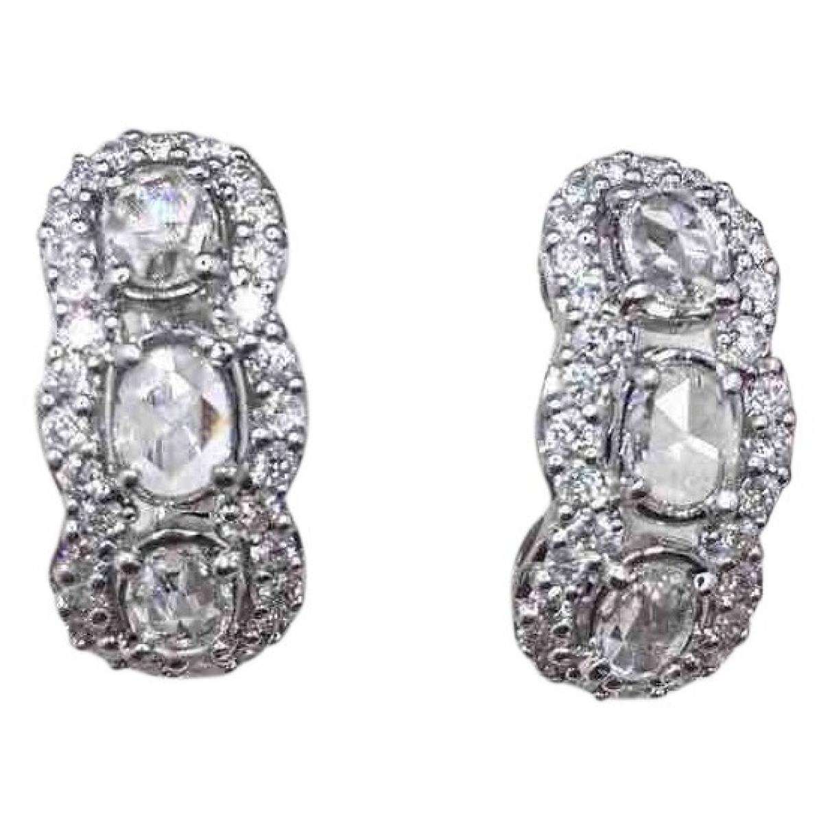 - Boucles doreilles Art Deco pour femme en or blanc - argente