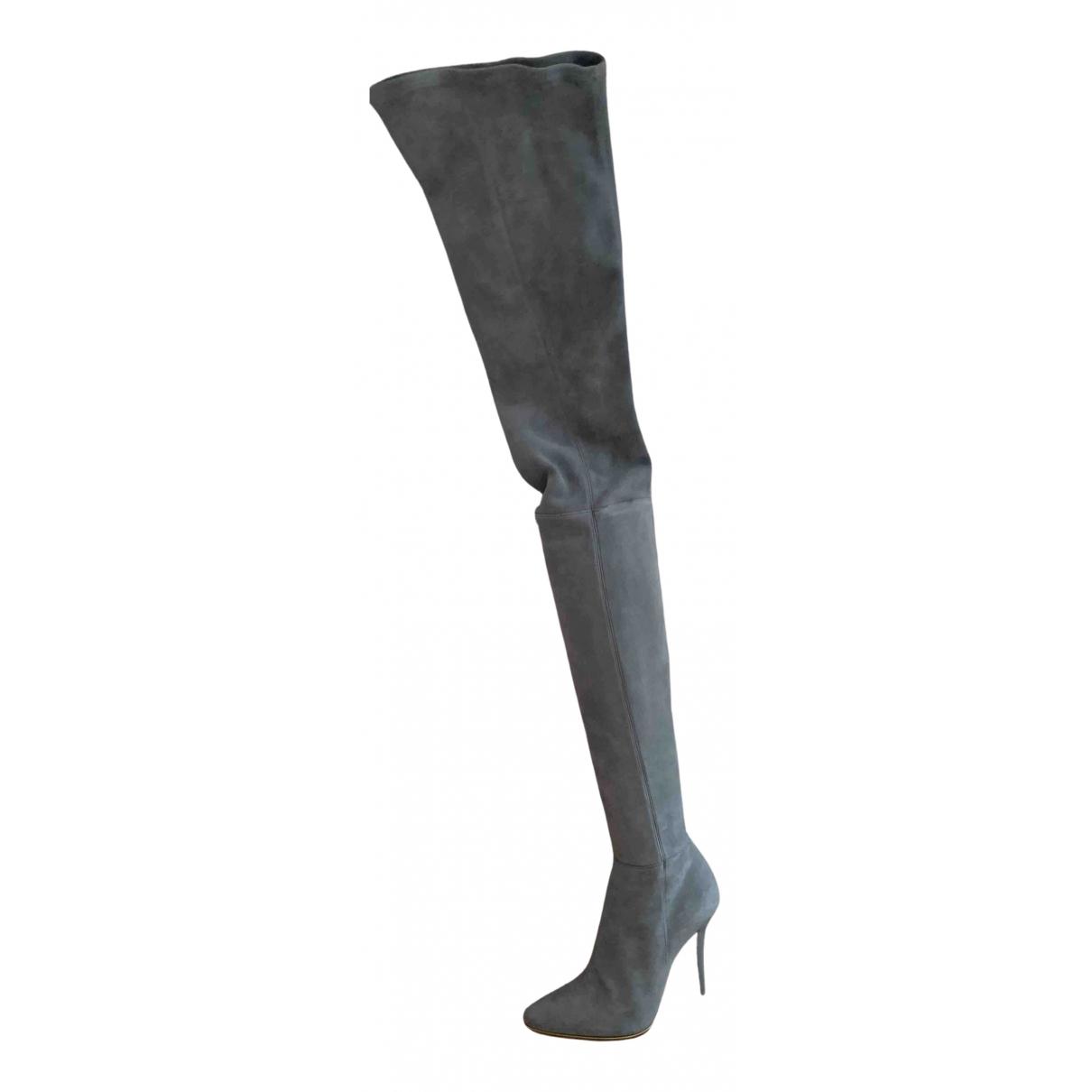 Balmain - Bottes   pour femme en suede - gris