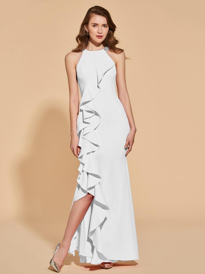 Ericdress Beaded Halter Ruffles Sheath Mermaid Evening Dress
