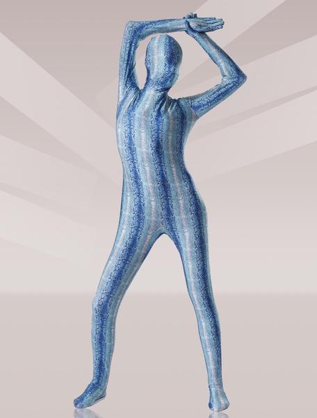 Milanoo Disfraz Halloween Zentai de elastano de marca LYCRA de estampado de serpiente de color azul Halloween