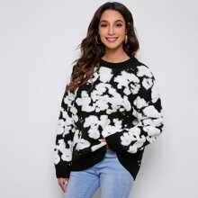 Two Tone Flocked Knit Sweater