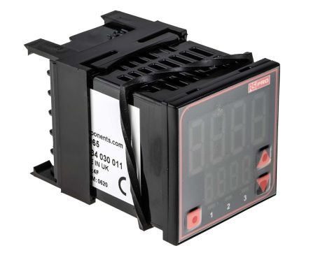 RS PRO Panel Mount PID Temperature Controller, 48 x 48mm, 2 Output Relay, 110  240 V ac Supply Voltage