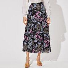 Falda bajo godet con estampado floral